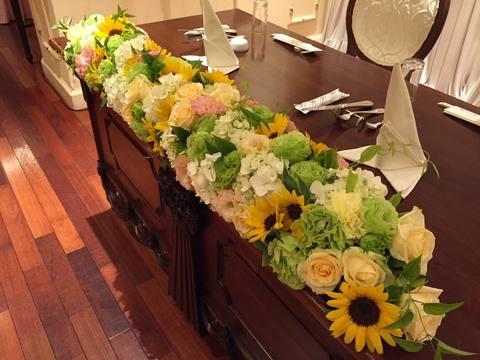 ヒマワリと紫陽花が好きな新婦のブライダル装花サムネイル