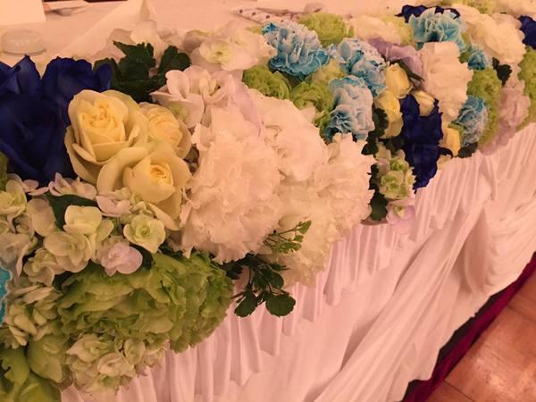国際ホテル宇部 ブルー系の好きな新婦のブライダル装花サムネイル